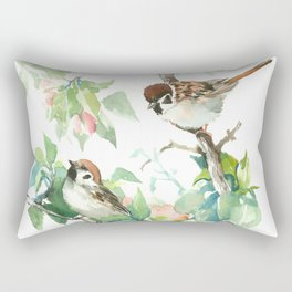 Sparrows And Apple Blossom Rectangular Pillow