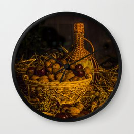 Still-life with nuts and wine Wall Clock