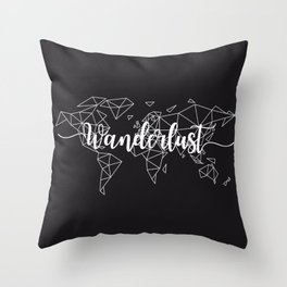 Wanderlust geometric world map Throw Pillow