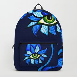 Blue Creepy Eye Flower Backpack
