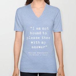 Shakespeare quote philosophy typography black white Unisex V-Neck