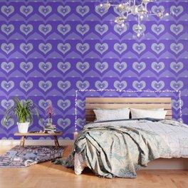 Radiating hearts Purple Wallpaper
