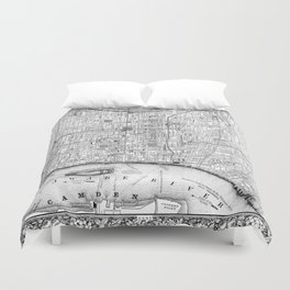 Vintage Map of Philadelphia Pennsylvania (1860) BW Duvet Cover