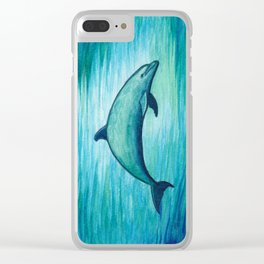 """Indigo Lagoon"" by Amber Marine ~ Watercolor Dolphin Painting, (Copyright 2015) Clear iPhone Case"