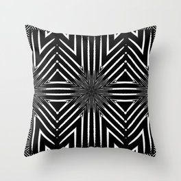 Tribal Black and White African-Inspired Pattern Throw Pillow