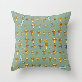 Mushroom hunting Throw Pillow