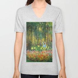 Claude Monet The Artist's Family In The Garden Unisex V-Neck