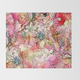 Summer Flowers | Colorful Watercolor Floral Pattern Abstract Sketch Throw Blanket