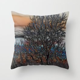 Abstract Sunset Tree Throw Pillow