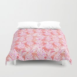FLESHED OUT Tropical Pink Pineapples Duvet Cover