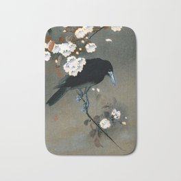 Vintage Japanese Crow and Blossom Woodblock Print Bath Mat