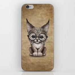 Cute Baby Lynx Cub Wearing Glasses iPhone Skin