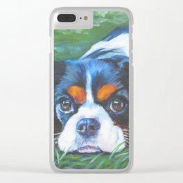 Beautiful Tricolour Cavalier King Charles Spaniel Dog Painting by L.A.Shepard Clear iPhone Case