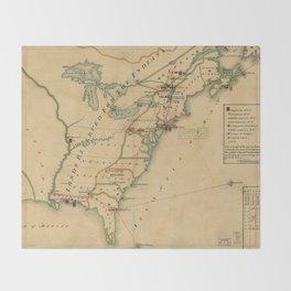 Vintage British Occupation Map of America (1765) Throw Blanket