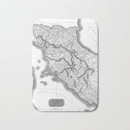 Vintage Map of Tuscany Italy (1814) BW Bath Mat