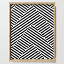 Black and White Abstract geometric pattern Serving Tray