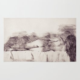 Lying on the bed. Nude studio Rug