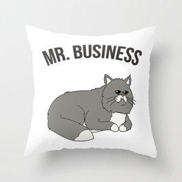 Mr. Business Cat Throw Pillow