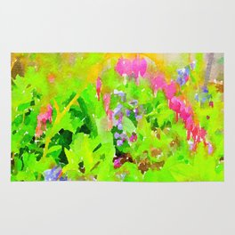Abstract Spring Flowers Bleeding Hearts and Virginia Bluebells Rug