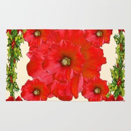 RED FLOWERS & GREEN HOLIDAY FLORAL ART Rug