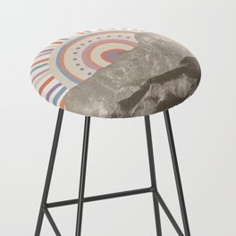 Summerlin Mountain Up // Abstract Vintage Mountains Summer Sun Surf Beach Vibe Drawing Happy Wall Ha Bar Stool