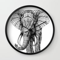 black Wall Clocks featuring Ornate Elephant by BIOWORKZ