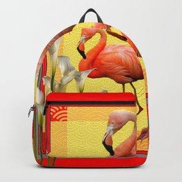 SURREAL FLAMINGOS CALLA LILIES RED ART Backpack