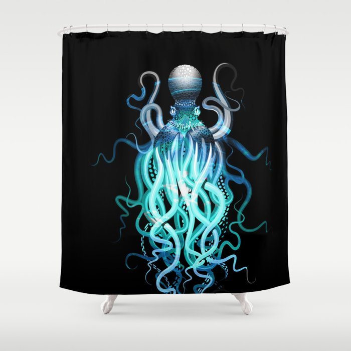 Watercolor Design Octopus Shower Curtain By Folknfunky