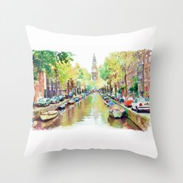Amsterdam Canal 2 Throw Pillow