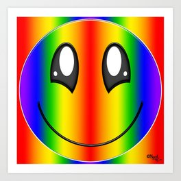 Rainbow Smiley Face by Xen™ Art Print