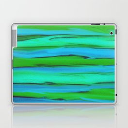 Apple Green, Seafoam, and Azure Blue Stripes Abstract Laptop & iPad Skin
