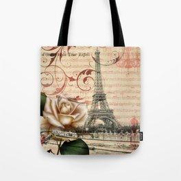 vintage chandelier white rose music notes Paris eiffel tower Tote Bag