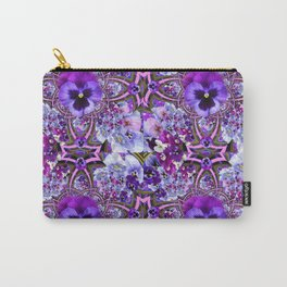 AWESOME GEOMETRIC LILAC PURPLE PANSIES GARDEN ART Carry-All Pouch