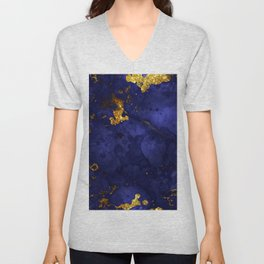 Gold Blue Indigo Malachite Marble Unisex V-Neck