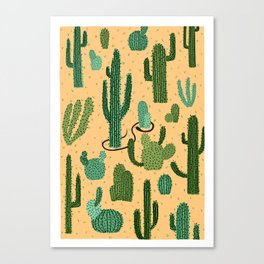 The Snake, The Cactus and The Desert Canvas Print