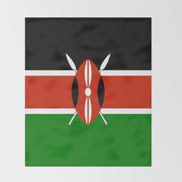 National flag of Kenya - Authentic version, to scale and color Throw Blanket