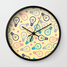 Cute Pastels Light bulb Pattern Wall Clock