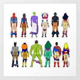Superhero Butts - Power Couple Art Print
