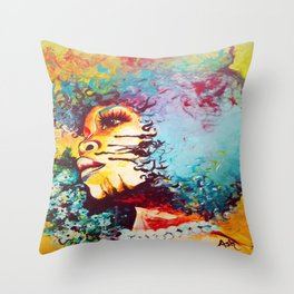 Unstrained Afro Blue Throw Pillow