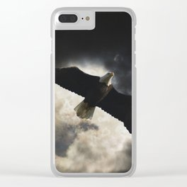 Soaring Eagle in Stormy Skies Clear iPhone Case