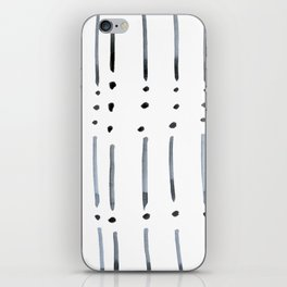 black and white dots and dashes boho modern iPhone Skin