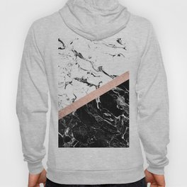 Modern black white marble color block rose gold Hoody