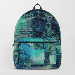 Totem Cabin Abstract - Teal Backpack