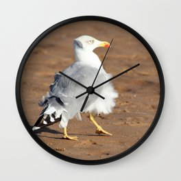 Seagull in a windy day with ruffled feathers Wall Clock