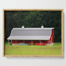 Red Barn And Truck Serving Tray