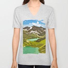 alpine mountain view vector art Unisex V-Neck