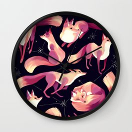 Starry Foxes Wall Clock