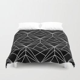 White Geometric Pattern on Black Background Duvet Cover