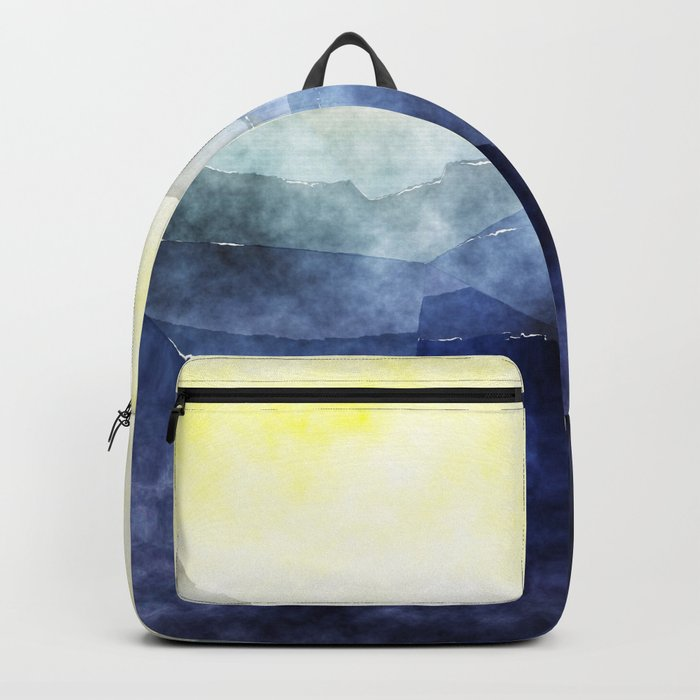 Sun behind the mountains - Modern abstract triangle Dreamscape Backpack