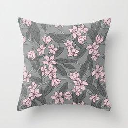 Sakura Branch Pattern - Ballet Slipper + Neutral Grey Throw Pillow